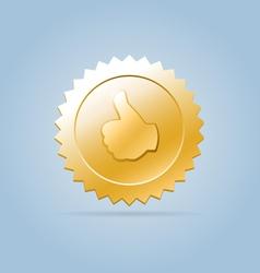 Golden like medal sign vector image vector image