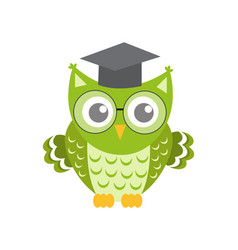 owl in glasses with square academic cap icon flat vector image