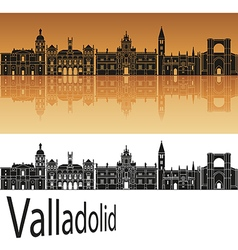 Valladolid skyline in orange vector image vector image
