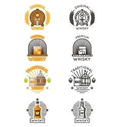 Whisky logo set alcohol drinks logotypes vector image vector image