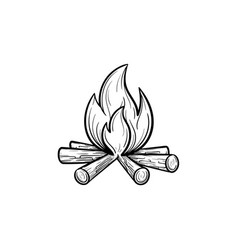 campfire hand drawn sketch icon vector image