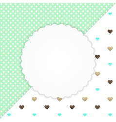 Green greeting card with hearts vector image
