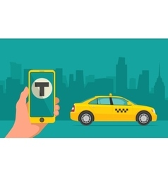 Hand phone with interface taxi on screen vector image