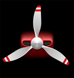 Light airplane with propeller on black vector image vector image