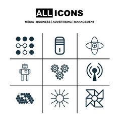 set of 9 robotics icons includes laptop vector image