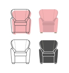 Set of colorfull and silhouette armchairs vector image