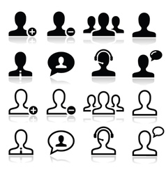 User man avatar icons set vector image vector image