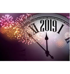 2019 new year background with clock and fireworks vector