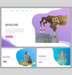 Air pollution factory and cloud waste website vector