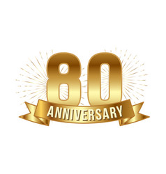 anniversary golden eighty years number vector image