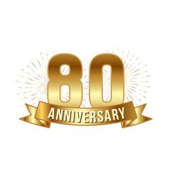 Anniversary golden eighty years number vector