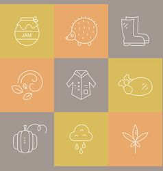 autumn icons collection vector image