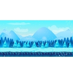 Beautiful Winter Landscape 2d game application vector image