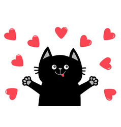Black cat head face hand paw print heart icon vector