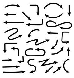 black hand drawn arrows set doodles vector image