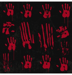 Bloody Hand Print set 01 vector image