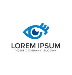 blue eye logo design concept template vector image