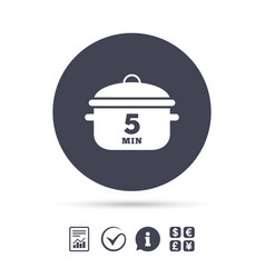 boil 5 minutes cooking pan sign icon stew food vector image
