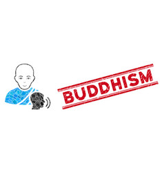 Buddhist confession mosaic and distress buddhism vector
