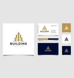 building logo with line art style city vector image