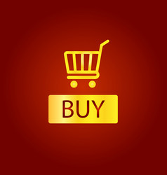 buy sign icon online buying cart button golden vector image