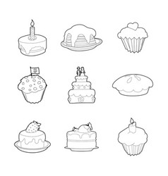 cake icon set outline style vector image