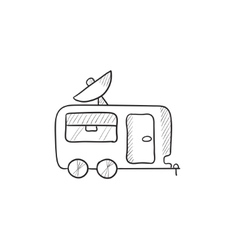 Caravan with satellite dish sketch icon vector