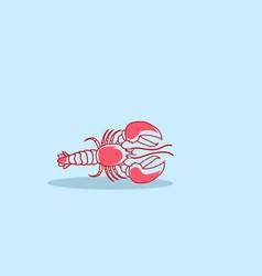Cartoon red lobster crayfish icon fresh seafood vector