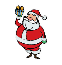cartoon santa claus holding gift box for your vector image