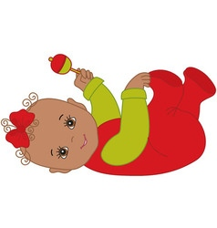 Christmas Baby Girl with Rattle vector