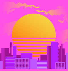 city at sunset in retrowave style vector image
