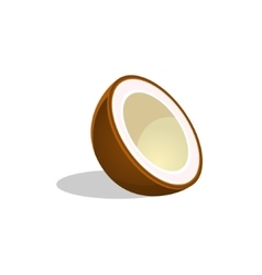 Coconut Cut In Half Bright Icon vector