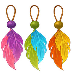 Colorful amulets with feathers and beads vector