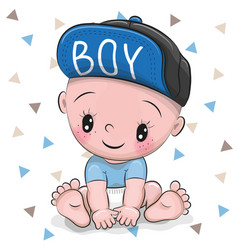 cute cartoon baby boy in a cap vector image