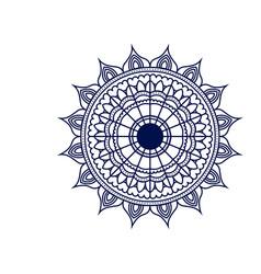 Dark blue silhouette flower mandala vintage vector