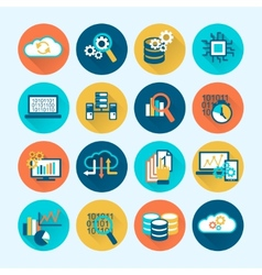 Database Analytics Icons Flat vector