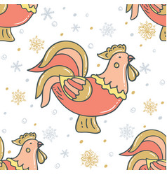 decorative rooster with snowflakes vector image