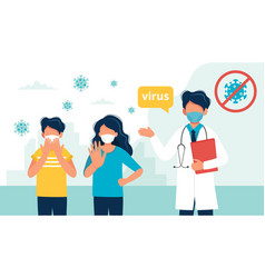 Doctor and people wearing a medical mask vector