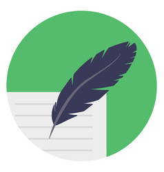 Document and feather vector