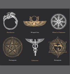 Drawn sketches mystical symbols set vector