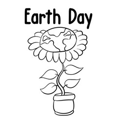 earth day flower style design vector image