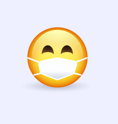 emoji face with medical mask vector image