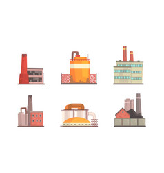 factory buildings set industrial power nuclear vector image