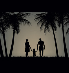 Father mother and daughter on the beach vector