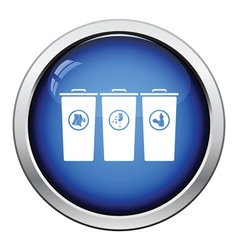 Garbage containers with separated trash icon vector