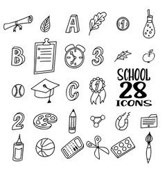 hand drawn doodle school objects concept of vector image