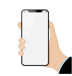 hand holding mobile phone isolated vector image