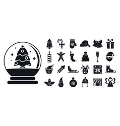 happy christmas icon set simple style vector image