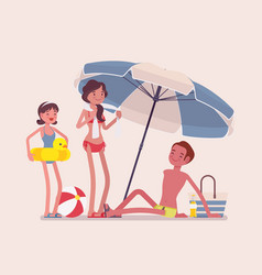 happy family enjoy rest at the beach vector image