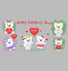 happy valentine s day set of six characters cute vector image